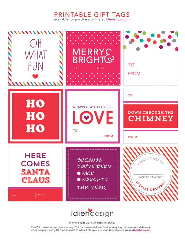 FREE PRINTABLE GIFT TAGS TOMKAT STUDIO HOLIDAY GUIDE - idieh design ...