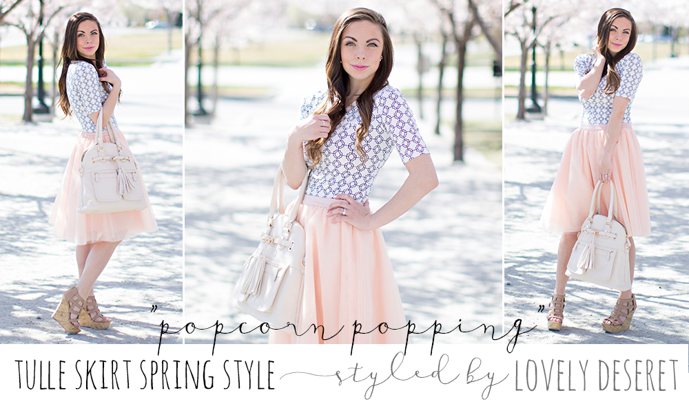 A blush pink tulle skirt spring style for easter styled by fashion blogger Lovely Deseret