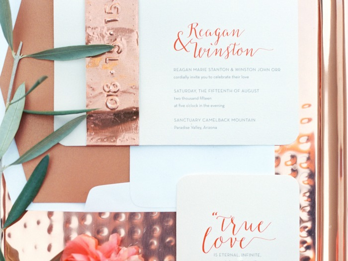 Copper C Wedding Stationery Phoenix Arizona