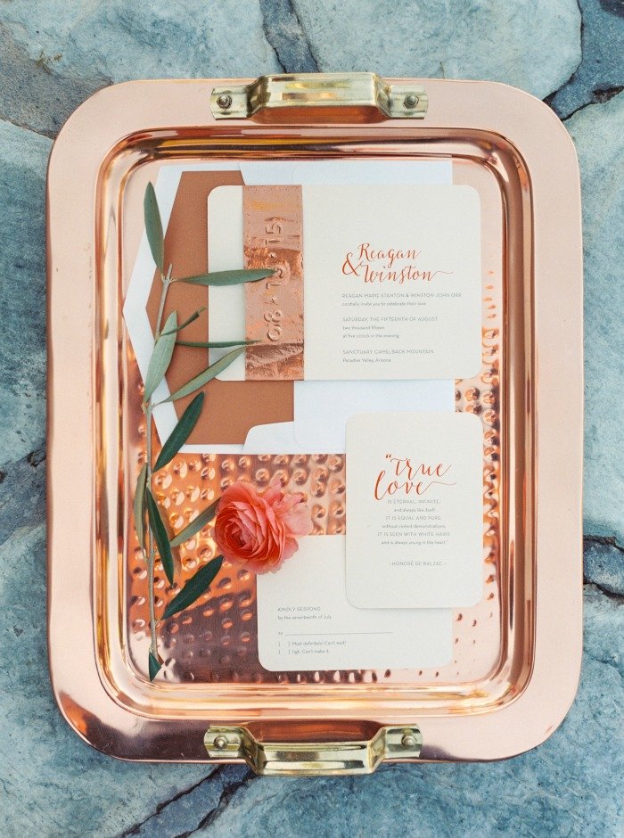 copper and coral stationery