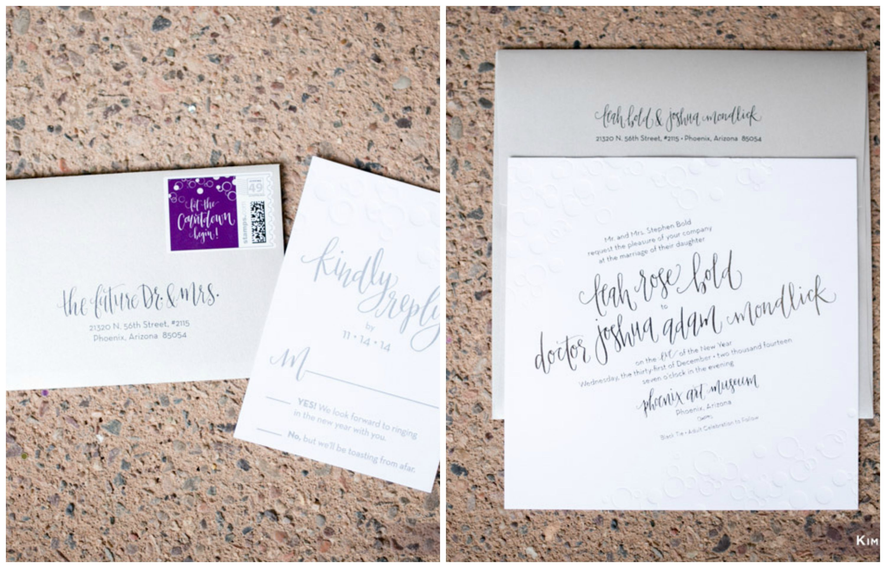 New Years Eve Wedding Stationery Phoenix Arizona