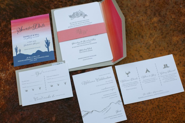 Sunset Inspired Wedding Stationery Featured