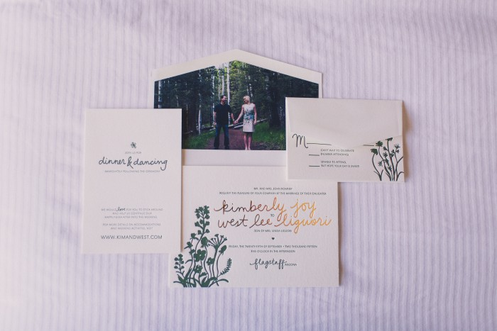 Letterpress Wedding in the Woods Stationery