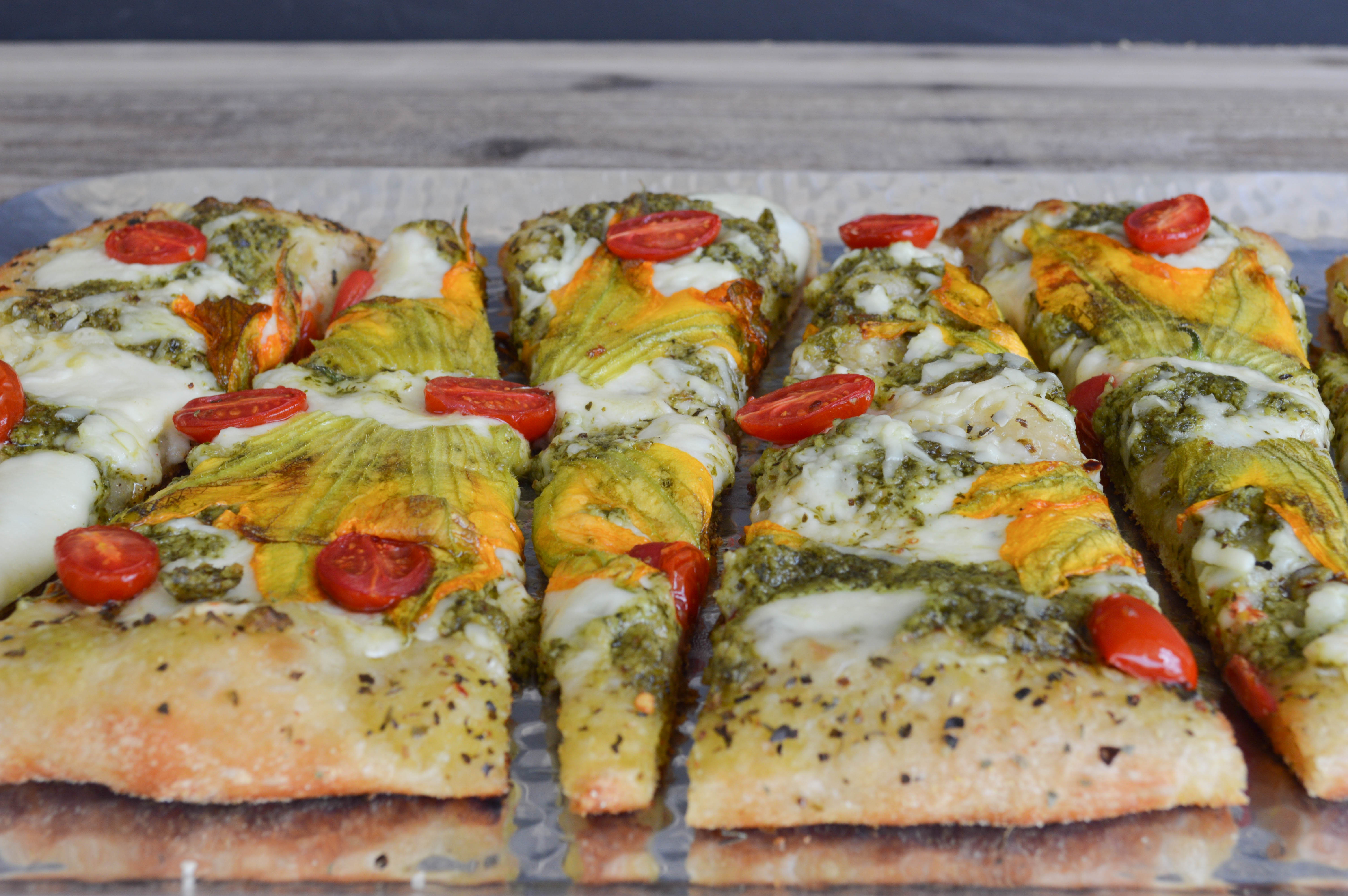 squash blossom pesto pizza recipe