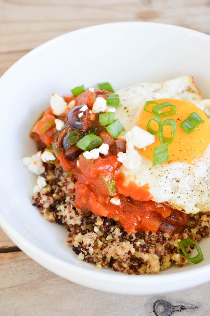 Mediterranean Quinoa with Olive Oil Fried Eggs