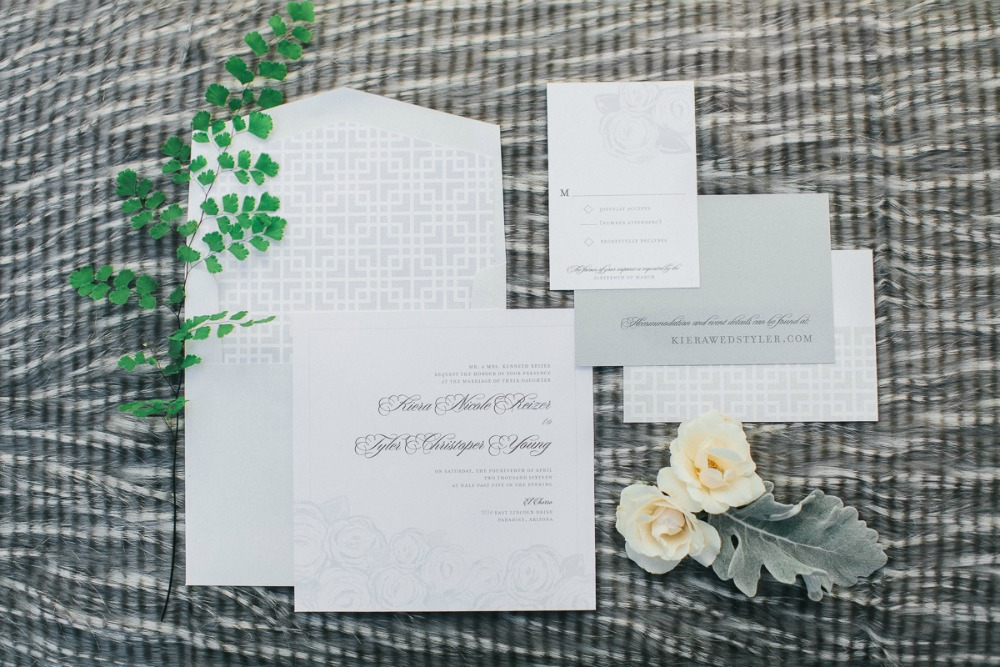 Modern Romantic Green and White Wedding Stationery