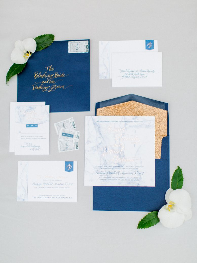 Embellished Gold Wedding Stationery