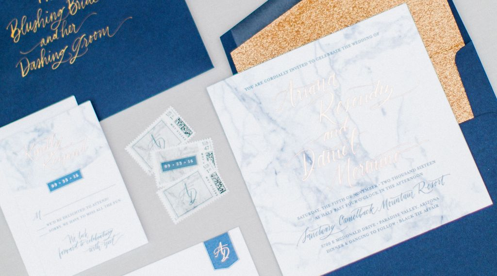 Gold Embellished Wedding Stationery