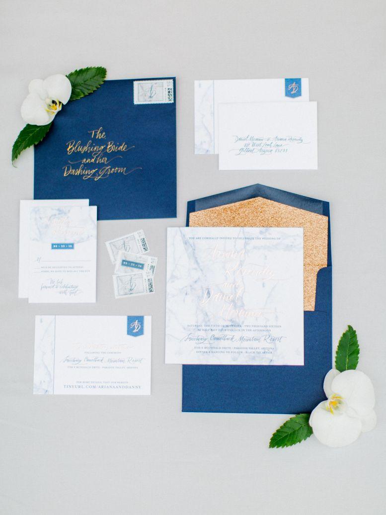 Embellished Gold Wedding Stationery